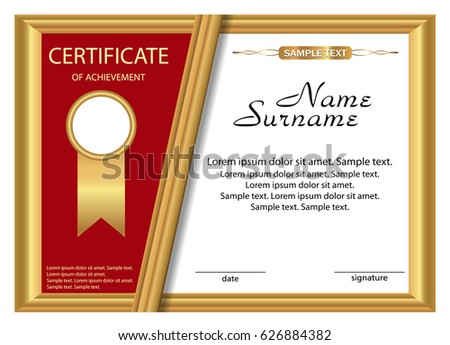 Template Certificate Achievement Gold Red Design Stock Vector