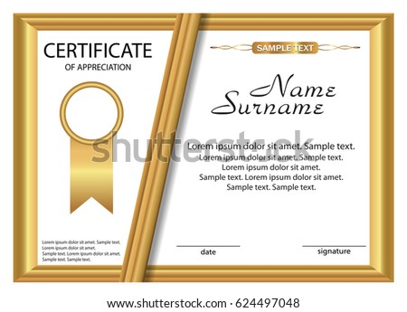 Template Certificate Appreciation Gold Design Vector Stock Vector Hd