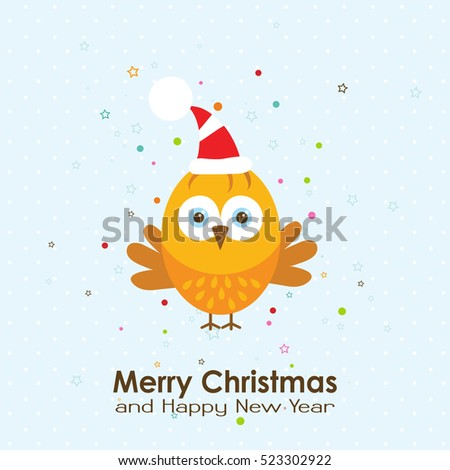Template Christmas and New year greeting card with a rooster, vector illustration