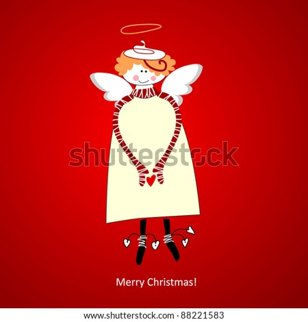 Template Christmas Card. Angel of happiness. Vector. - stock vector