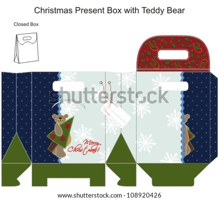 Template Christmas  Gift Box withTeddy Bear. Patchwork style. Vector illustration.
