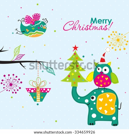 Template Christmas greeting card with a owl, elephant, vector illustration