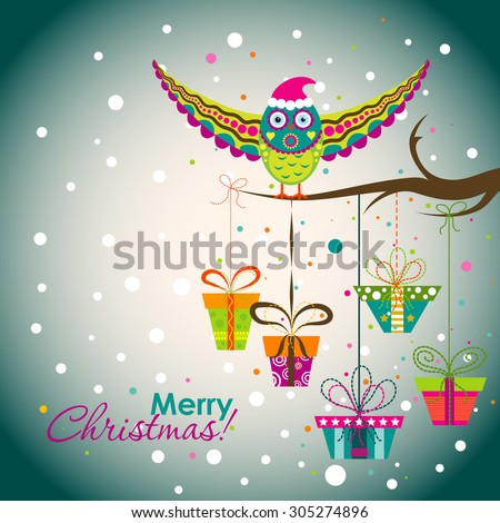 Template Christmas greeting card with an owl and gifts, vector illustration