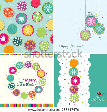 Template Christmas greeting cards, bauble pattern, vector illustration