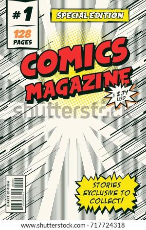 template comic book cover vector illustration stock vector 717724318 shutterstock. Black Bedroom Furniture Sets. Home Design Ideas