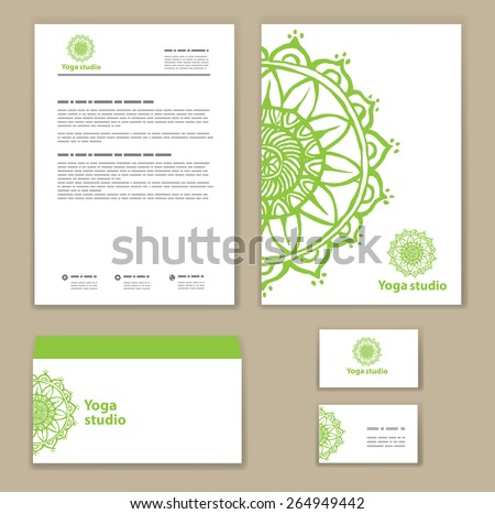 Template corporate style with a round ornament. Mock-up.  Company logo design.