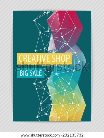 Template creative design for flyer with white polygonal grid, bright figure, blue backdrop. Proportionally: A4