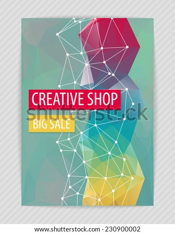 Template creative design for flyer with white polygonal grid, bright figure, polygonal backdrop. Proportionally: A4
