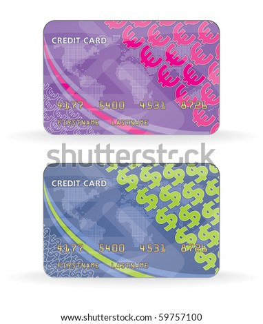 Template credit card - stock vector
