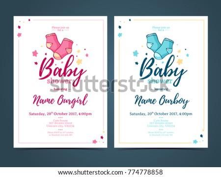 Template design baby shower invitation infant stock photo photo template design baby shower invitation infant invite with baby socks decorationfor girl or boy filmwisefo