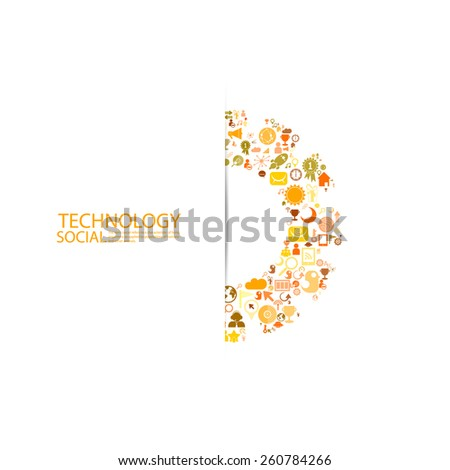Template design Businessman thinking idea gear with social network icons background - stock vector