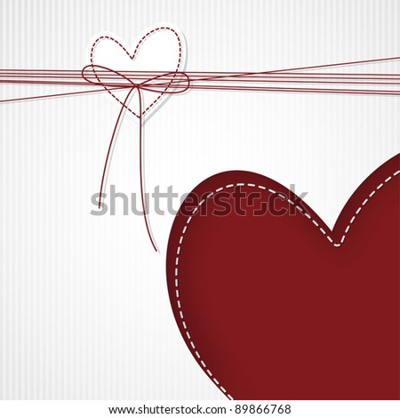 Template design for valentine's greeting card with hearts and ribbon - stock vector
