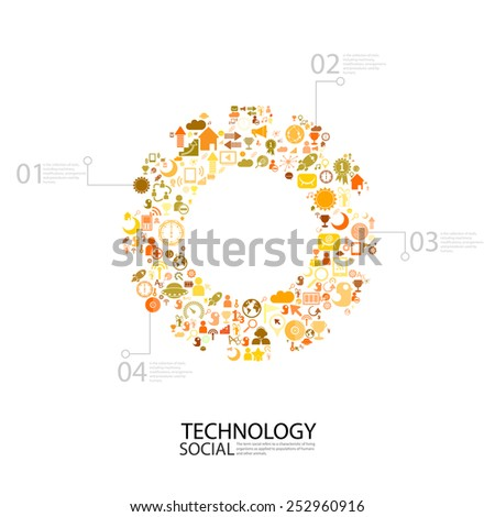 Template design idea gear with social network icons background - stock vector