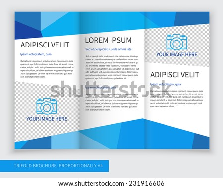 Template design of blue trifold brochure with polygons. Editable and light vector with places for photos. Proportionally A4 - stock vector