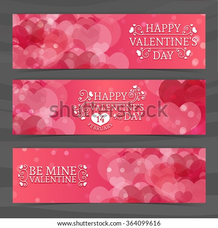 Template design of horizontal pink banners, brochures, coupons with a pattern of hearts. Good for Valentine's Day wedding. - stock vector