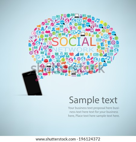 Template design Phone idea with social network icons background  - stock vector
