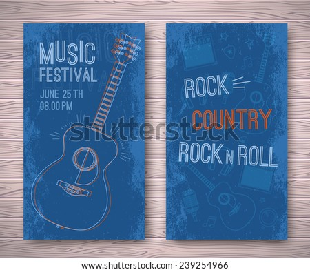 Template Design Poster: Music Festival in grunge style. On a wooden background. - stock vector