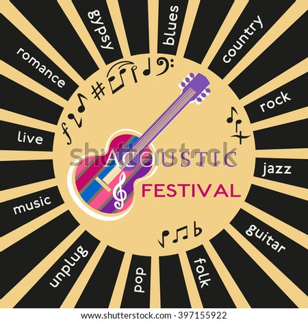 Template Design Poster with acoustic guitar silhouette, clef, notes. Idea for Live Music Festival, music show. Musical Festivals promotion,  advertisement. Vector illustration. - stock vector