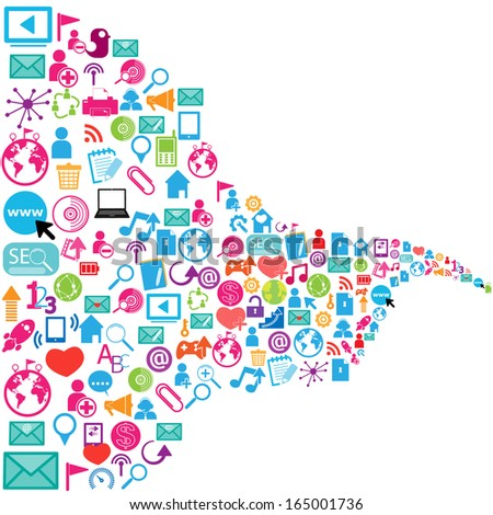 template design with social network icons background  - stock vector