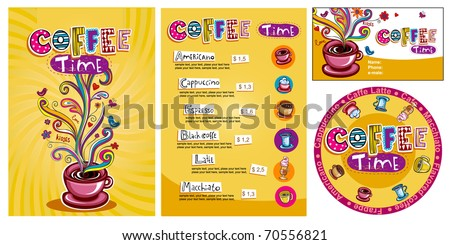 Template designs of menu and business card for cofee shop - stock vector