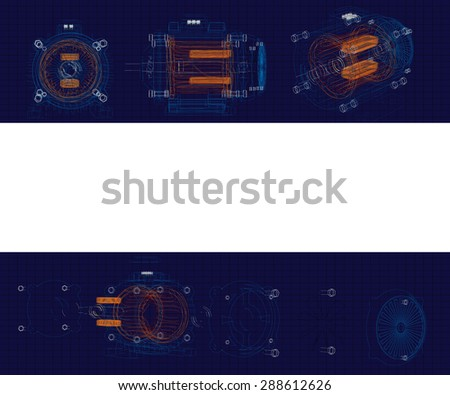 Template drawings engine assembled and disassembled. - stock vector