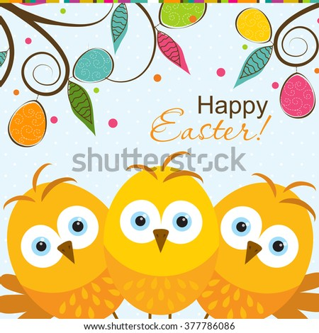 Template Easter greeting card, chick, vector illustration