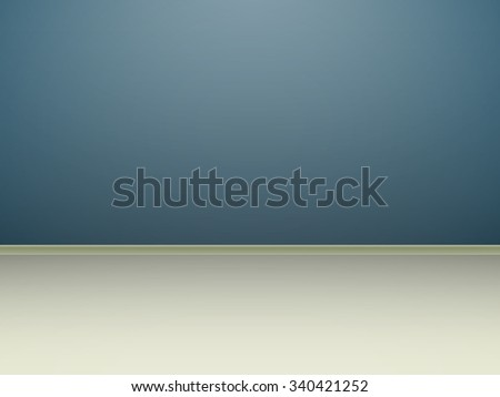 template empty room with blue wall and light flooring, simulated 3d