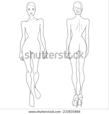 Template. Figure of a girl model - stock vector