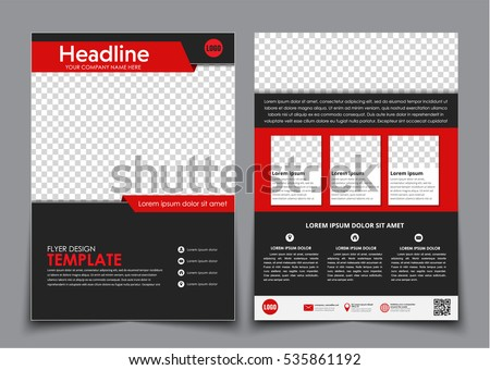 template flyer black red elements printing stock vector royalty