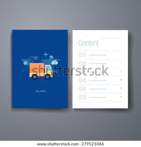 Template. Flyer, Brochure Design set.Vector brochure design templates collection. Set of flat design concept icons for online shopping and purchase delivery. Lorry or truck over world map. - stock vector
