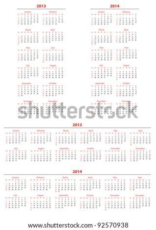 Template foe calendar 2013-2014; set2 - stock vector