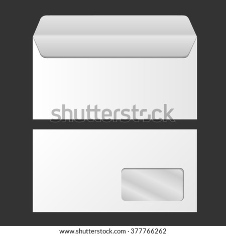 Template for advertising and corporate identity. Envelope with window. Blank mockup for design. Vector white object. Vector blank envelope with window, front and back view. Corporate identity. - stock vector