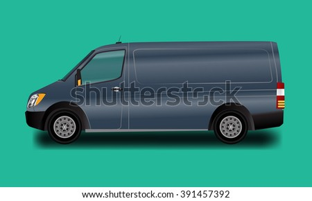 Template for advertising and corporate identity. Illustrated vector Blue Van. Blank transport mockup for your design.