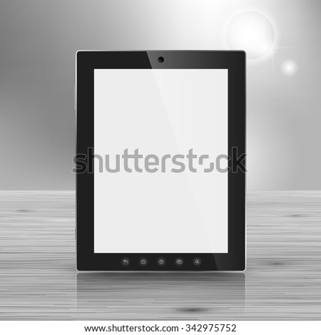 Template for advertising and corporate identity. Modern portable tablet. Blank mockup for design. Vector white object - stock vector