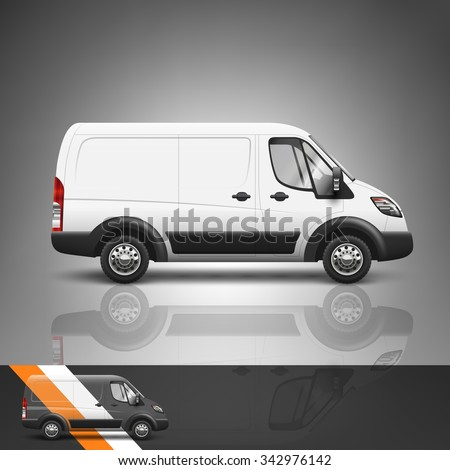 Template for advertising and corporate identity. Transport. Bus. Blank mockup for design. Vector white object - stock vector