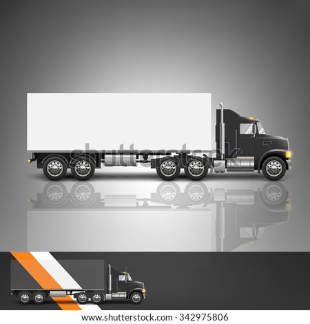 Template for advertising and corporate identity. Transport. Truck. Blank mockup for design. Vector white object - stock vector