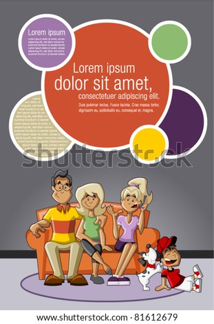 Template for advertising brochure with a happy cartoon family with kids on the couch - stock vector