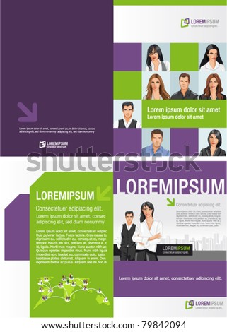 Template for advertising brochure with business people - stock vector