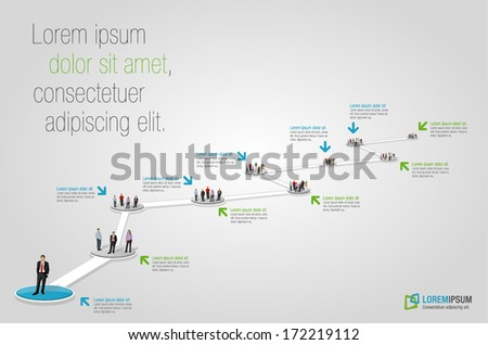 Template for advertising brochure with business people. Hiring selection.  - stock vector