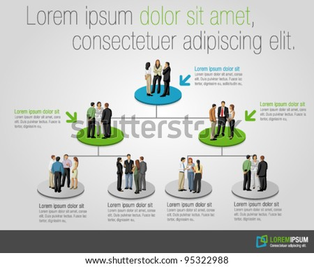 Template for advertising brochure with business people on hierarchy tree - stock vector