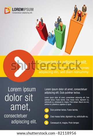 Template for advertising brochure with business people over bar chart - stock vector