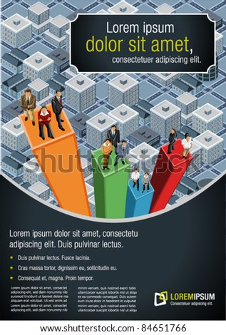 Template for advertising brochure with business people over chart on the city - stock vector