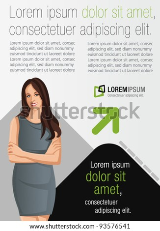 Template for advertising brochure with business woman - stock vector