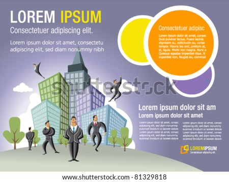 Template for advertising brochure with businessmen over city with buildings - stock vector