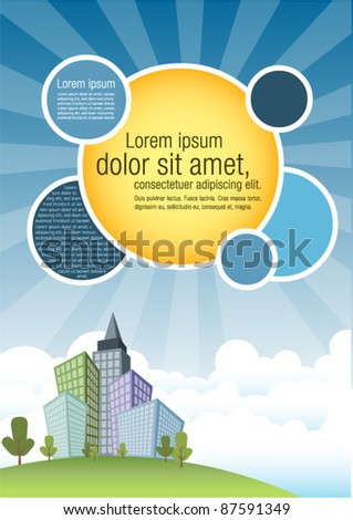 Template for advertising brochure with city and blue sky - stock vector