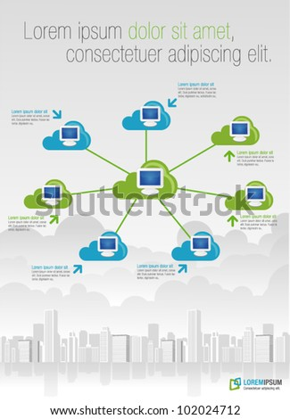 Template for advertising brochure with cloud computing - stock vector