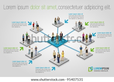 Template for advertising brochure with connected people. Social network. - stock vector