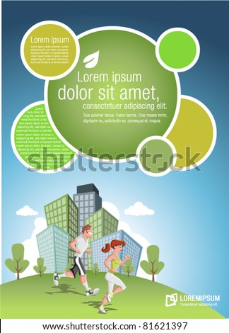 Template for advertising brochure with couple jogging in the city park - stock vector