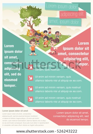 Vector brochure backgrounds cartoon family infographic for Brochure template for kids