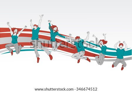 Template for advertising brochure with group of colorful happy people jumping